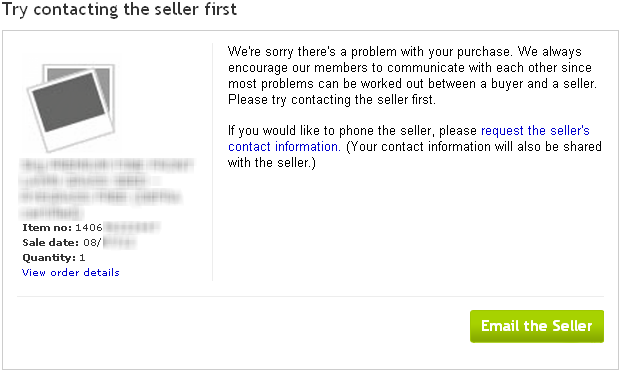 eBay Resolution Centre - Contact Seller First